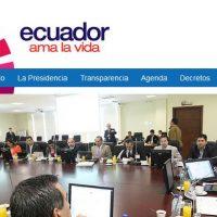 Die Regierung von Ecuador am Kabinettstisch.