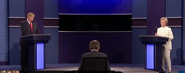 Beim letzten TV-Duell zeigte sich einmal mehr: Hillary Clinton ist eine Politiker, die Kriege als Stilmittel der Politik nutzen möchte. Trump lehnt das im Prinzip ab. (Bild: YouTube-Screenshot)